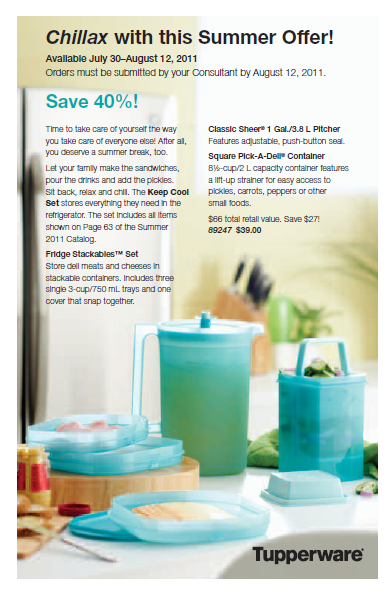 Tupperware Chillax Sale through Aug. 12