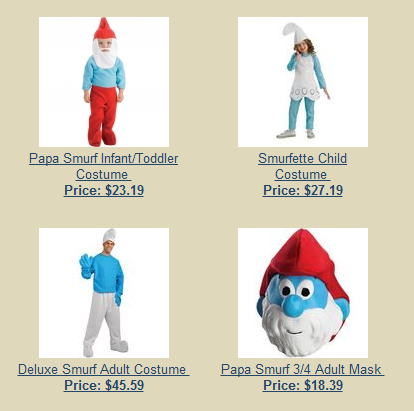 Smurf Costumes print screen