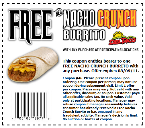 Free Nacho Crunch Burrito at Del Taco with any purchase