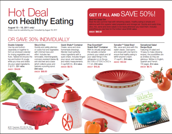 Tupperware Red Hot Salad Set Brochure